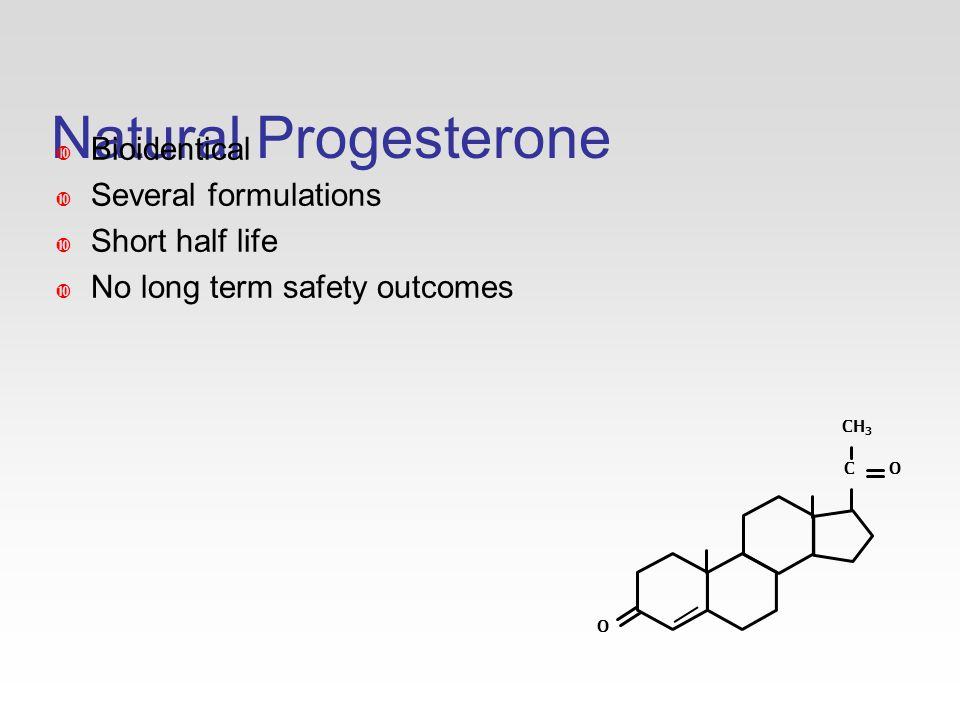Natural Progesterone CH 3 C O O  Bioidentical  Several formulations  Short half life  No long term safety outcomes