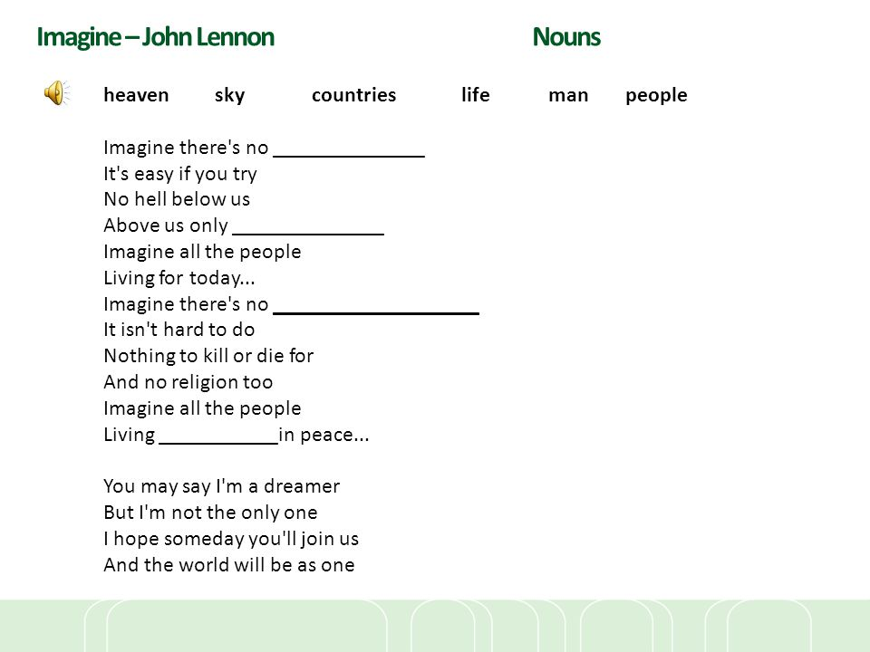 Imagine – John Lennon Nouns heaven sky countries life man people Imagine there's no ______________ It's easy if you try No hell below us Above us only