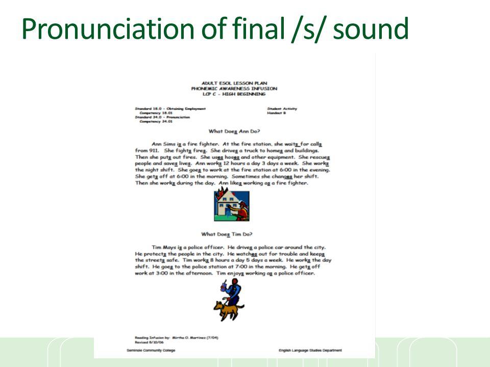 Pronunciation of final /s/ sound