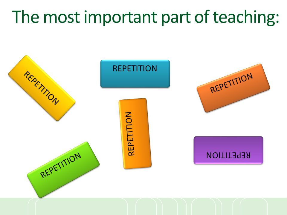 The most important part of teaching: REPETITION