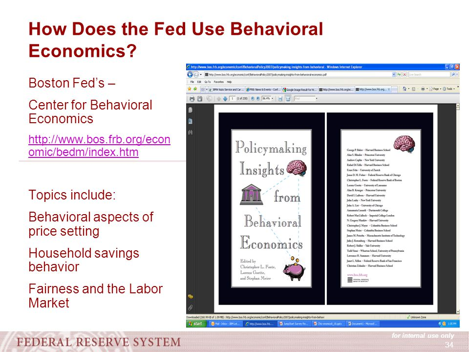 for internal use only 34 How Does the Fed Use Behavioral Economics.