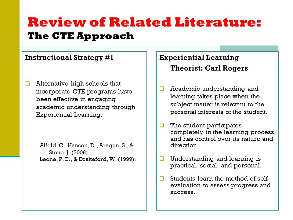 Review of Related Literature: The CTE Approach Instructional Strategy #1  Alternative high schools that incorporate CTE programs have been effective in engaging academic understanding through Experiential Learning.