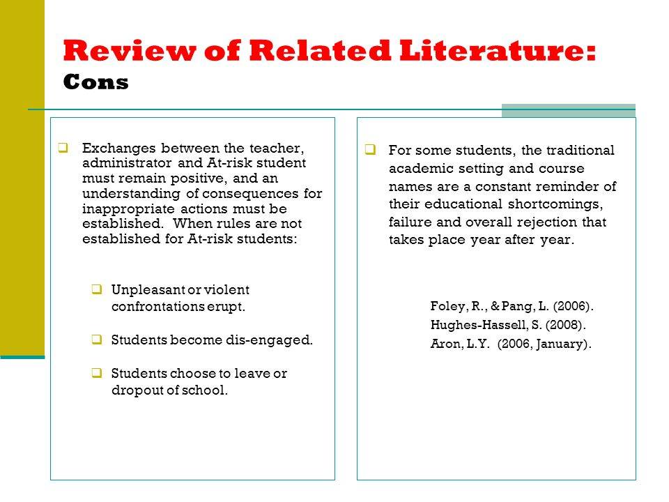 Review of Related Literature: Cons  Exchanges between the teacher, administrator and At-risk student must remain positive, and an understanding of consequences for inappropriate actions must be established.
