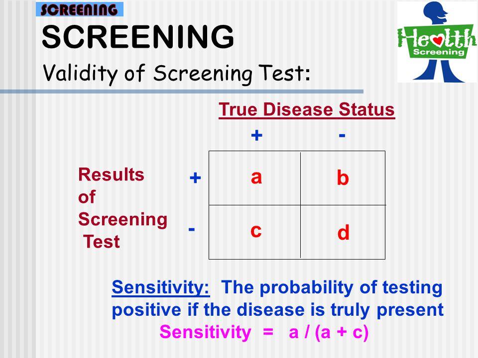 SCREENING Validity &Reliability of Screening Test :
