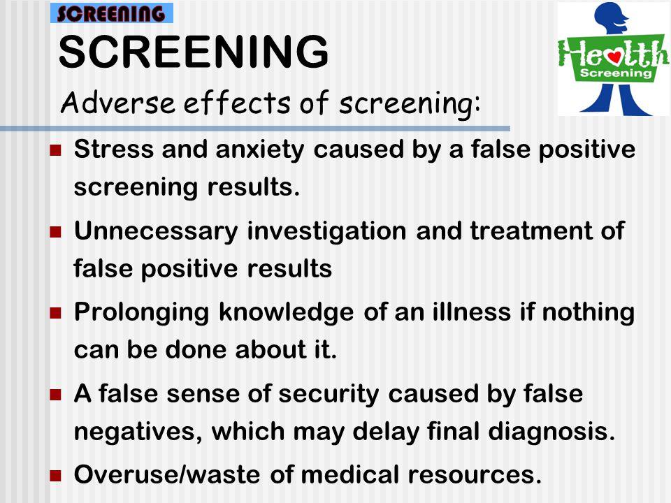SCREENING Validity of Screening Test : Disease Test DNo D 90595 1095105 100 200 Sensitivity: a / (a + c) = 90/100 =90% Specificity: d / (b + d) = 95/100 =95% Prevalence of disease =(a+c)/(a+b+c+d) =100/200 =50% a b c d