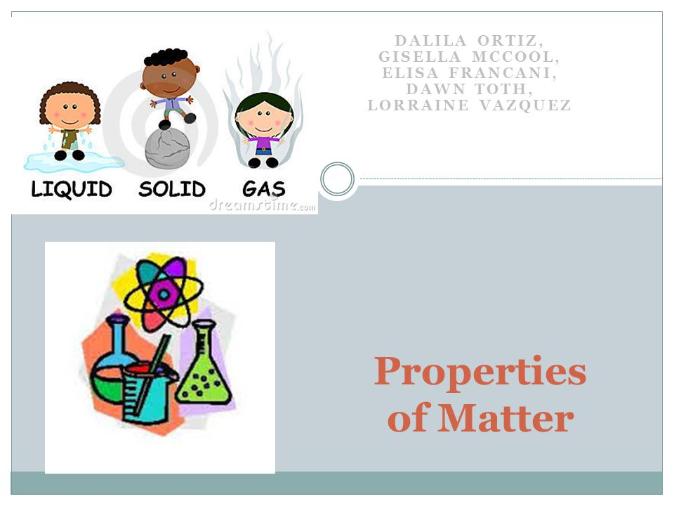 DALILA ORTIZ, GISELLA MCCOOL, ELISA FRANCANI, DAWN TOTH, LORRAINE VAZQUEZ Properties of Matter