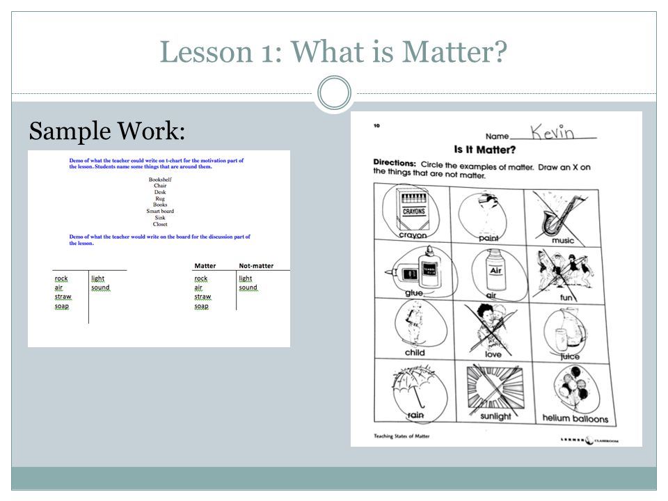 Lesson 1: What is Matter? Sample Work: