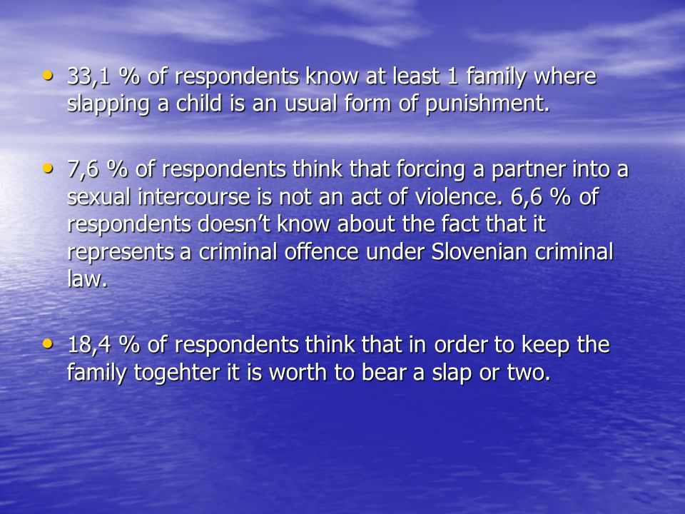 33,1 % of respondents know at least 1 family where slapping a child is an usual form of punishment.