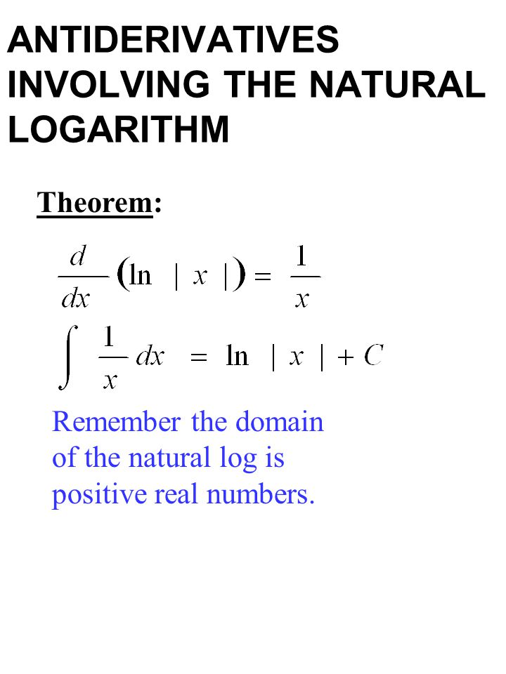 ANTIDERIVATIVES INVOLVING THE NATURAL LOGARITHM Theorem: Remember the domain of the natural log is positive real numbers.