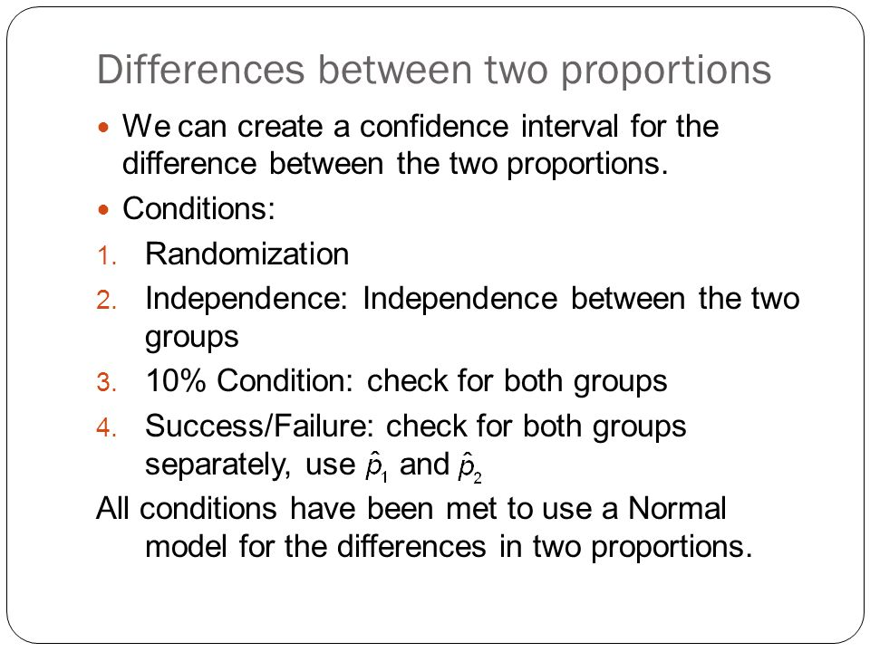 Differences between two proportions We can create a confidence interval for the difference between the two proportions.