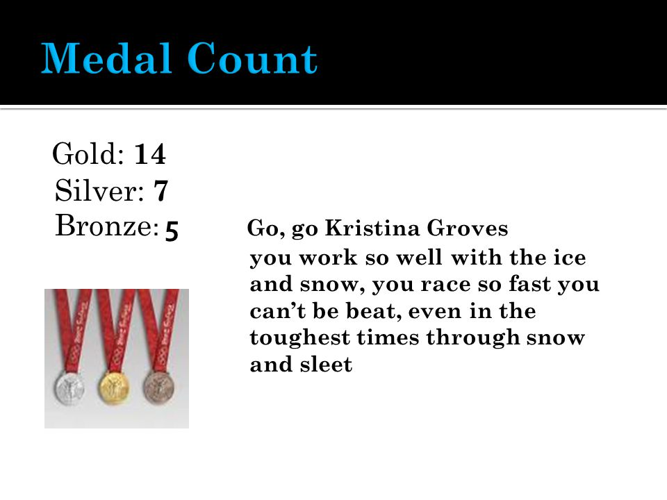 Gold: 14 Silver: 7 Bronze : 5 Go, go Kristina Groves you work so well with the ice and snow, you race so fast you can't be beat, even in the toughest times through snow and sleet