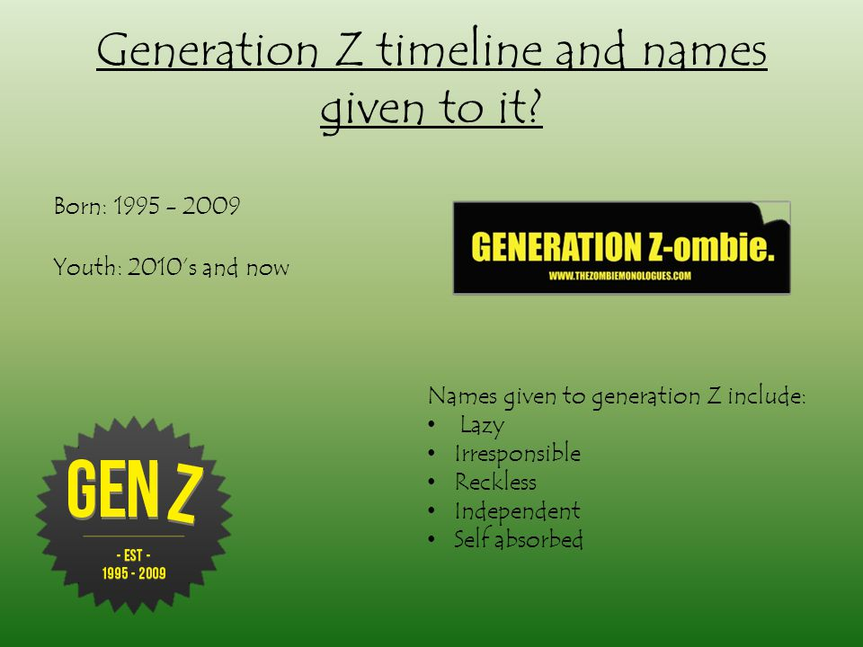 Generation Z timeline and names given to it.