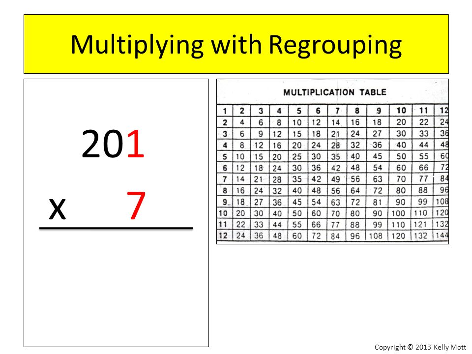 Multiplying with Regrouping 123 x 4 Copyright © 2013 Kelly Mott