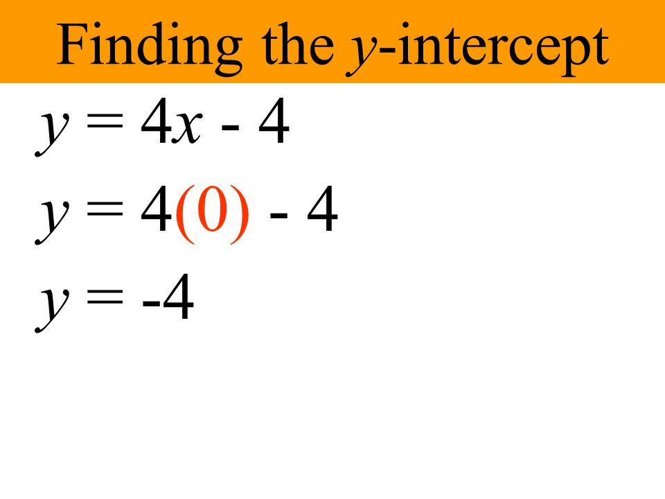 Finding the x-intercept y = 4x - 4 0 = 4x - 4 0 + 4 = 4x -4 + 4 4 = 4x 1 = x