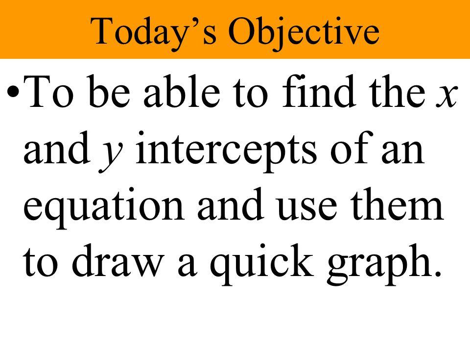 Finding the x-intercept 3x + 5y = 60 3x + 5(0) = 60 3x = 60 x = 20 (20, 0)