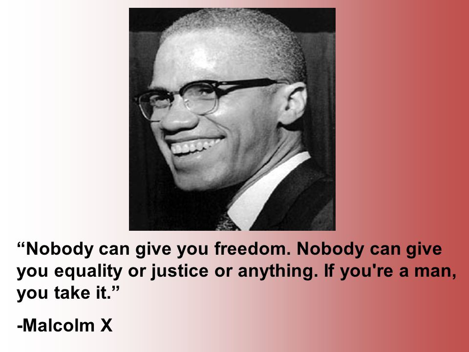 Nobody can give you freedom. Nobody can give you equality or justice or anything.