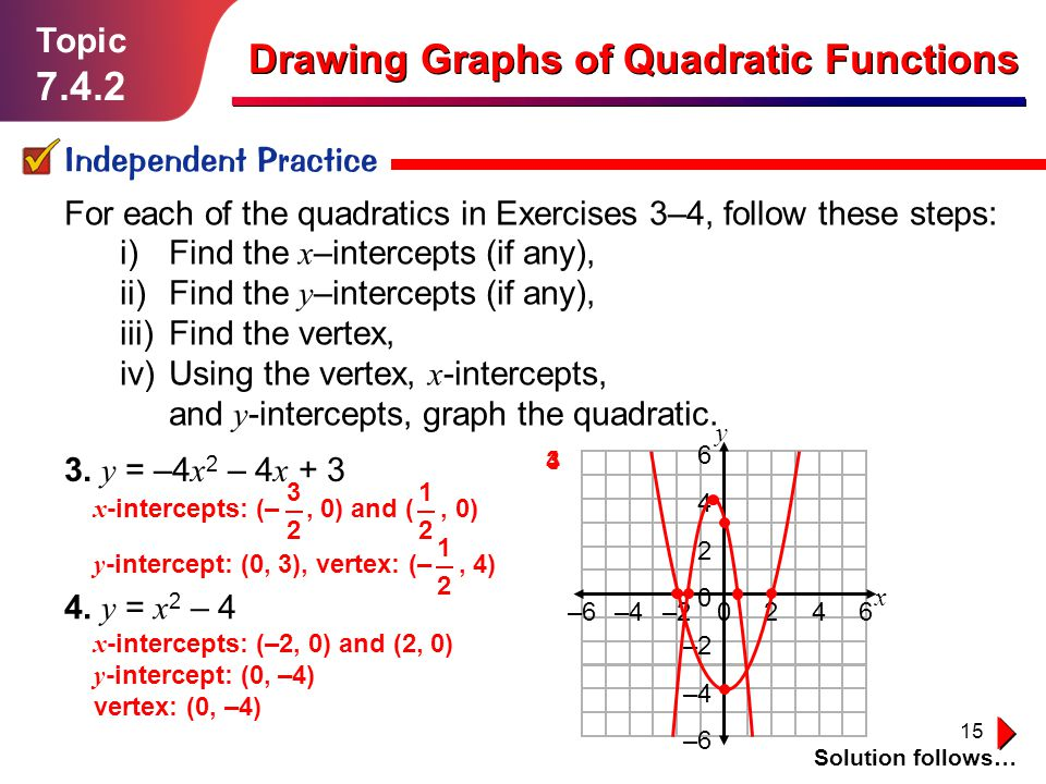 15 Topic 7.4.2 Independent Practice Solution follows… Drawing Graphs of Quadratic Functions For each of the quadratics in Exercises 3–4, follow these