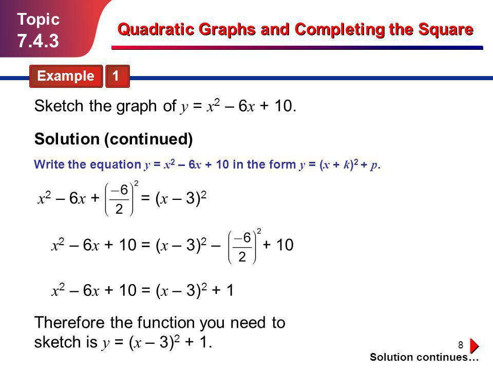 9 Topic 7.4.3 Quadratic Graphs and Completing the Square Solution (continued) Sketch the graph of y = x 2 – 6 x + 10.