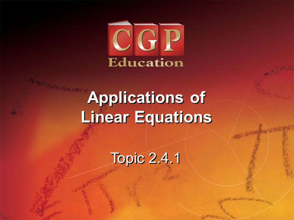 1 Topic Applications of Linear Equations