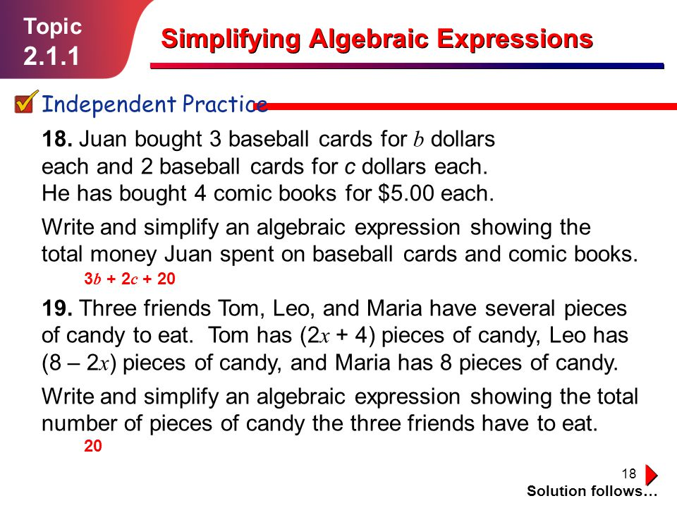 18 18.Juan bought 3 baseball cards for b dollars each and 2 baseball cards for c dollars each.