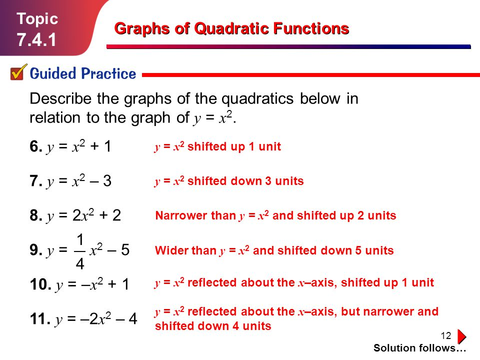 12 Topic 7.4.1 Guided Practice Solution follows… Graphs of Quadratic Functions Describe the graphs of the quadratics below in relation to the graph of