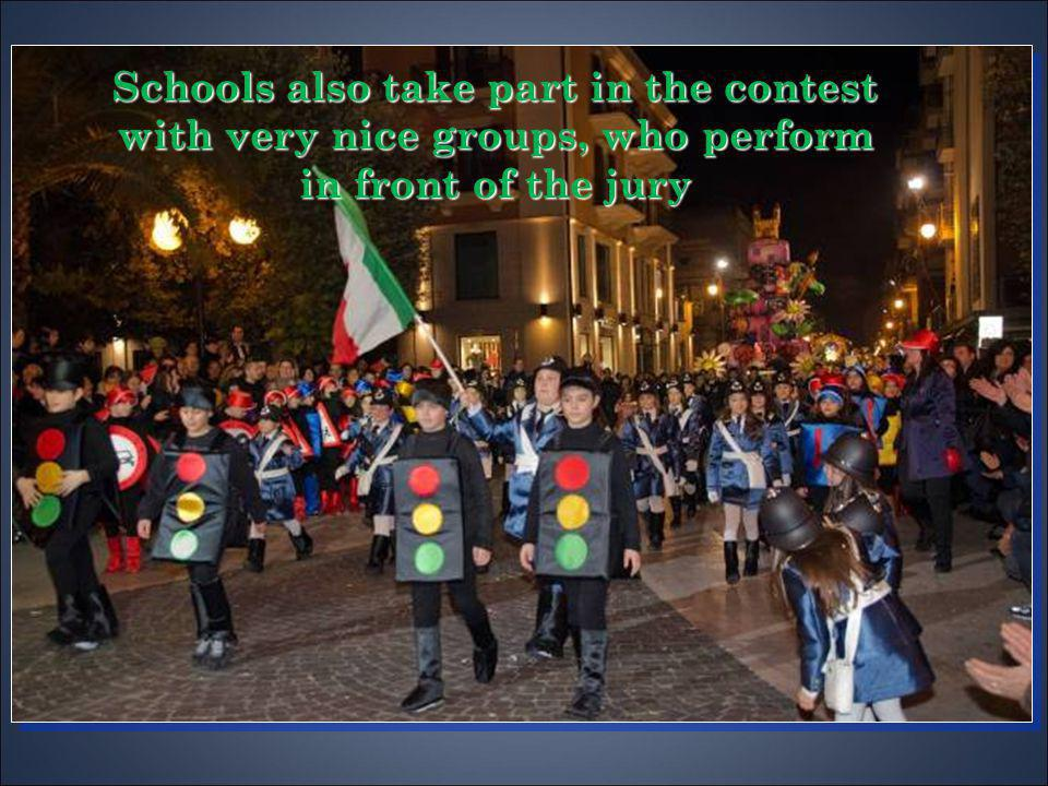 Schools also take part in the contest with very nice groups, who perform in front of the jury