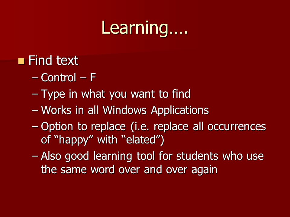 Learning….
