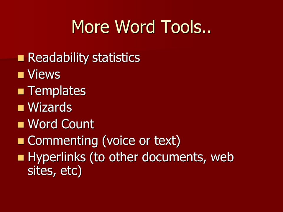 More Word Tools..