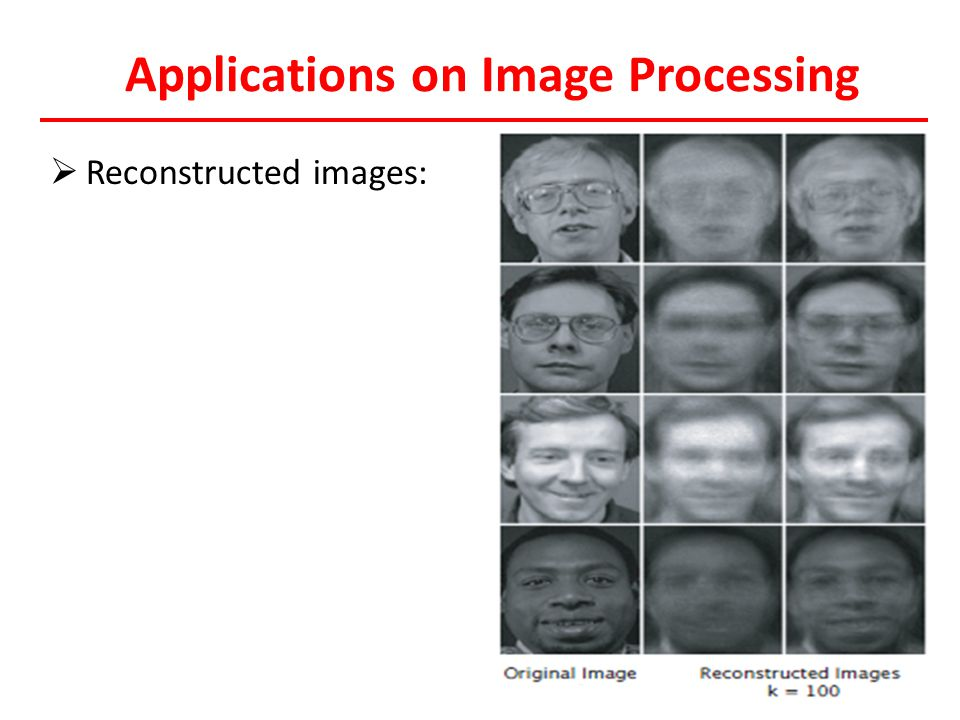 Applications on Image Processing  Reconstructed images: