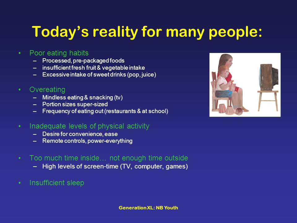 Today's reality for many people: Poor eating habits –Processed, pre-packaged foods –insufficient fresh fruit & vegetable intake –Excessive intake of sweet drinks (pop, juice) Overeating –Mindless eating & snacking (tv) –Portion sizes super-sized –Frequency of eating out (restaurants & at school) Inadequate levels of physical activity –Desire for convenience, ease –Remote controls, power-everything Too much time inside… not enough time outside –High levels of screen-time (TV, computer, games) Insufficient sleep