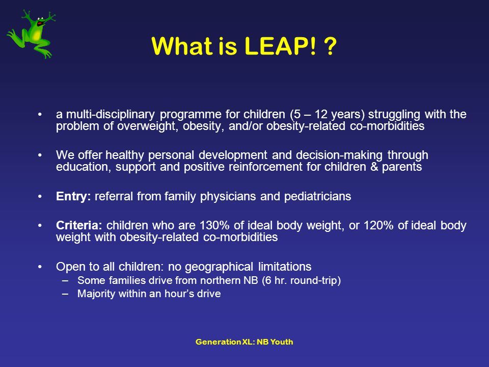 Generation XL: NB Youth What is LEAP.