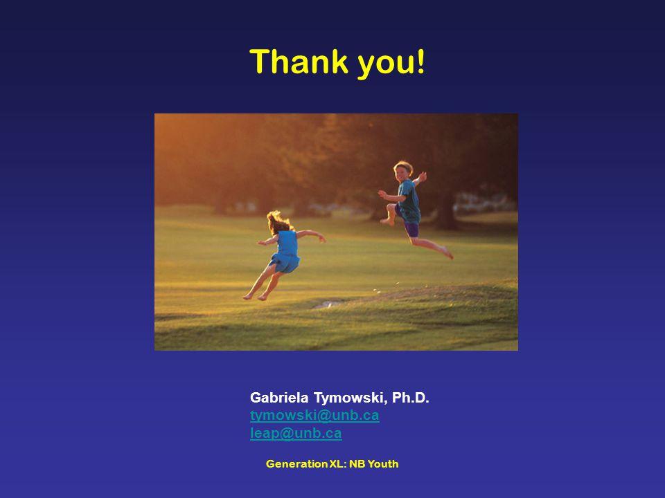 Generation XL: NB Youth Thank you! Gabriela Tymowski, Ph.D. tymowski@unb.ca leap@unb.ca