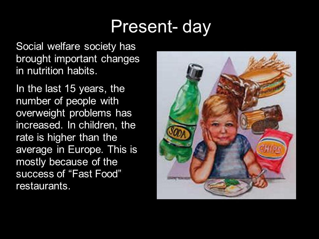 Present- day Social welfare society has brought important changes in nutrition habits.