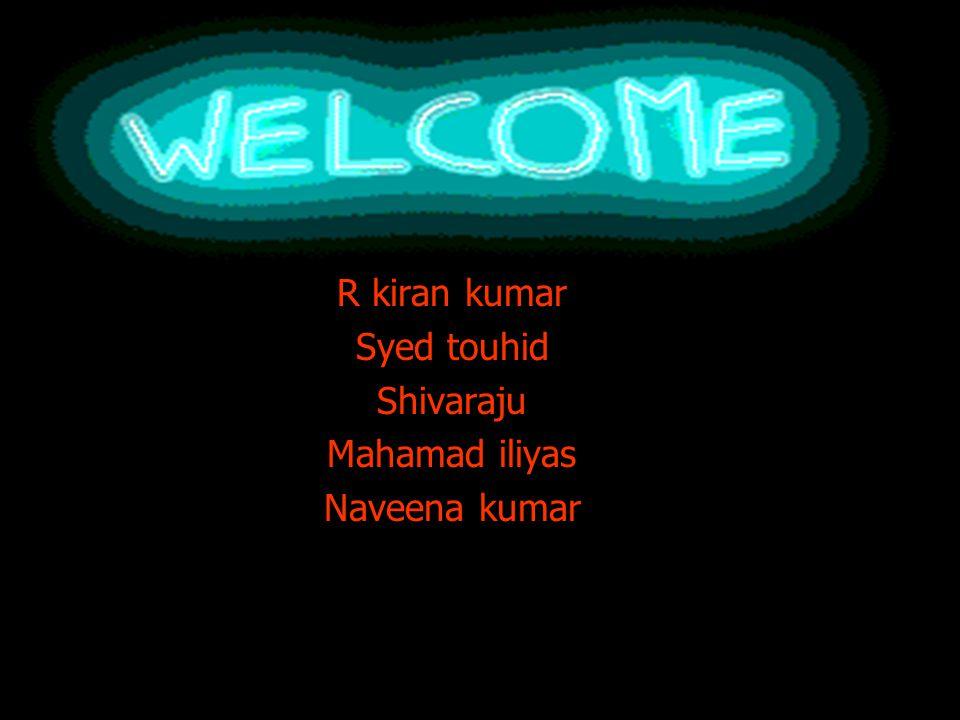 R kiran kumar Syed touhid Shivaraju Mahamad iliyas Naveena kumar