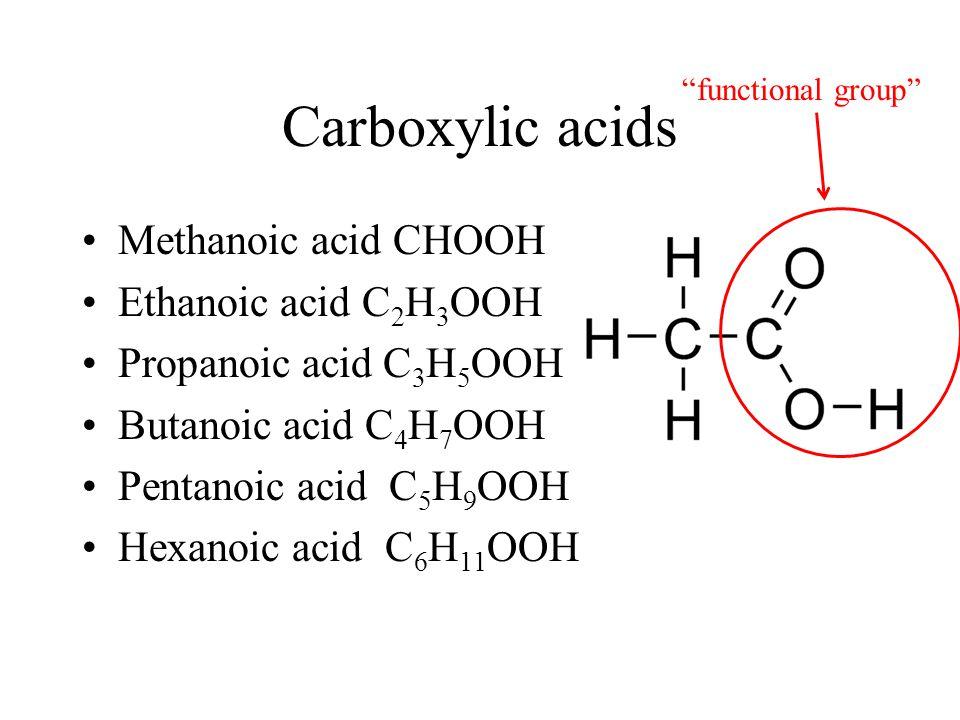 Carboxylic acids Methanoic acid CHOOH Ethanoic acid C 2 H 3 OOH Propanoic acid C 3 H 5 OOH Butanoic acid C 4 H 7 OOH Pentanoic acid C 5 H 9 OOH Hexano