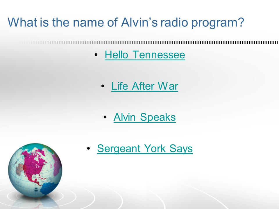 What is the name of Alvin's radio program.