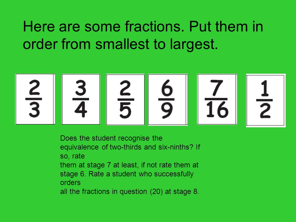 Here are some fractions. Put them in order from smallest to largest.