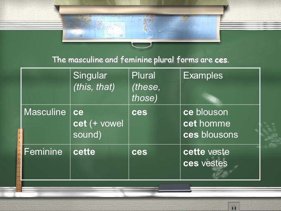 The masculine and feminine plural forms are ces. Singular (this, that) Plural (these, those) Examples Masculinece cet (+ vowel sound) cesce blouson ce