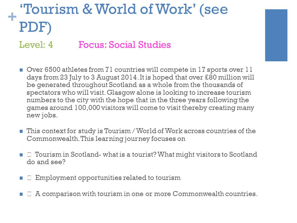 + 'Tourism & World of Work' (see PDF) Over 6500 athletes from 71 countries will compete in 17 sports over 11 days from 23 July to 3 August 2014.