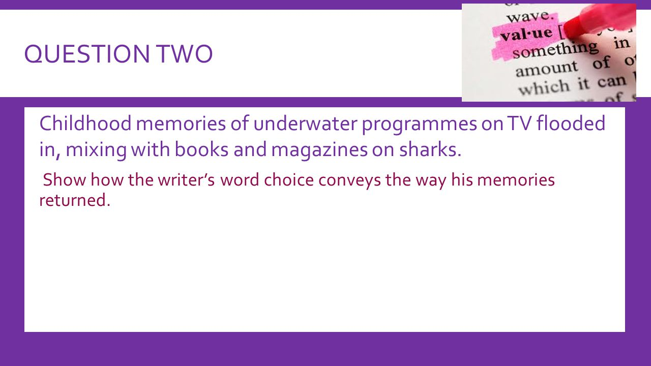 QUESTION TWO  Childhood memories of underwater programmes on TV flooded in, mixing with books and magazines on sharks.