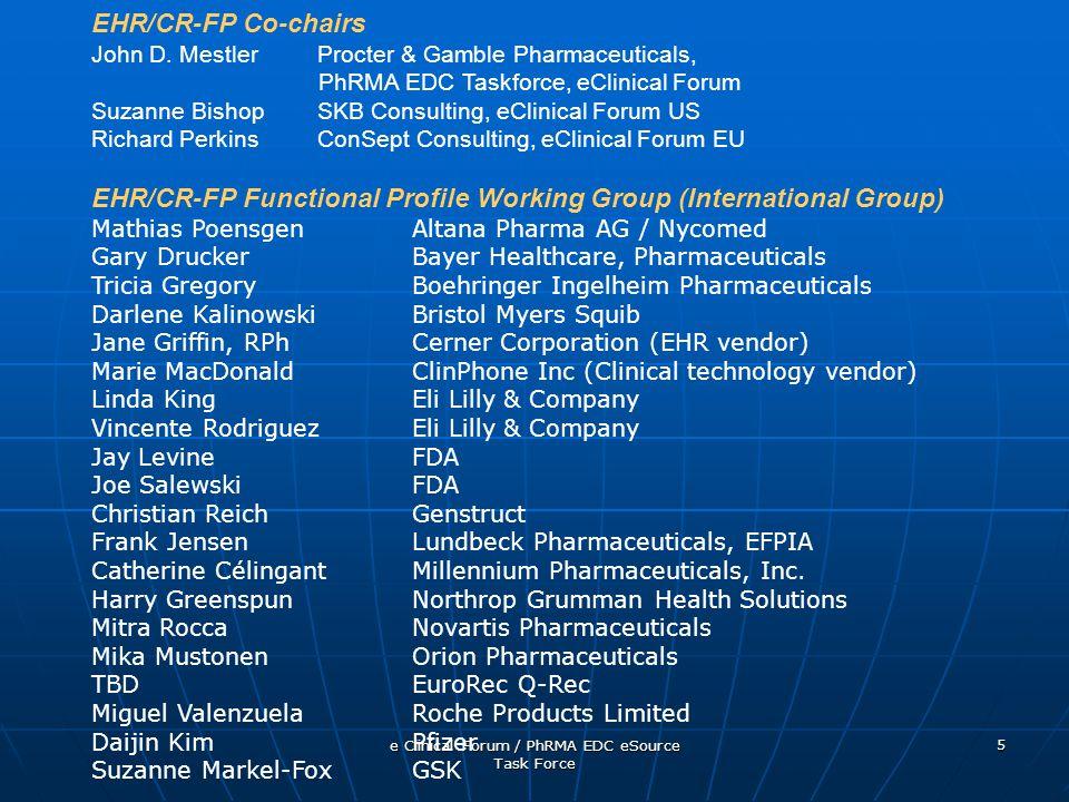 e Clinical Forum / PhRMA EDC eSource Task Force 5 EHR/CR-FP Co-chairs John D.