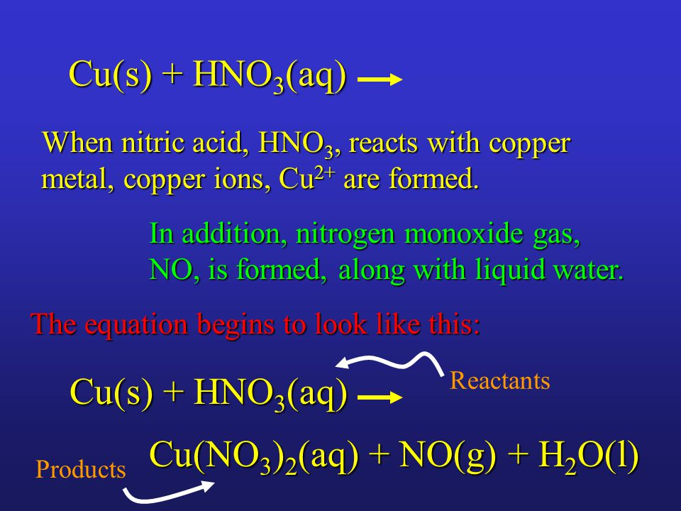 When nitric acid, HNO 3, reacts with copper metal, copper ions, Cu 2+ are formed.