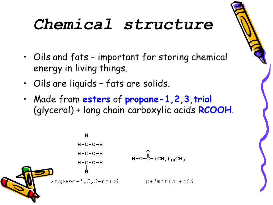 Chemical structure Oils and fats – important for storing chemical energy in living things.