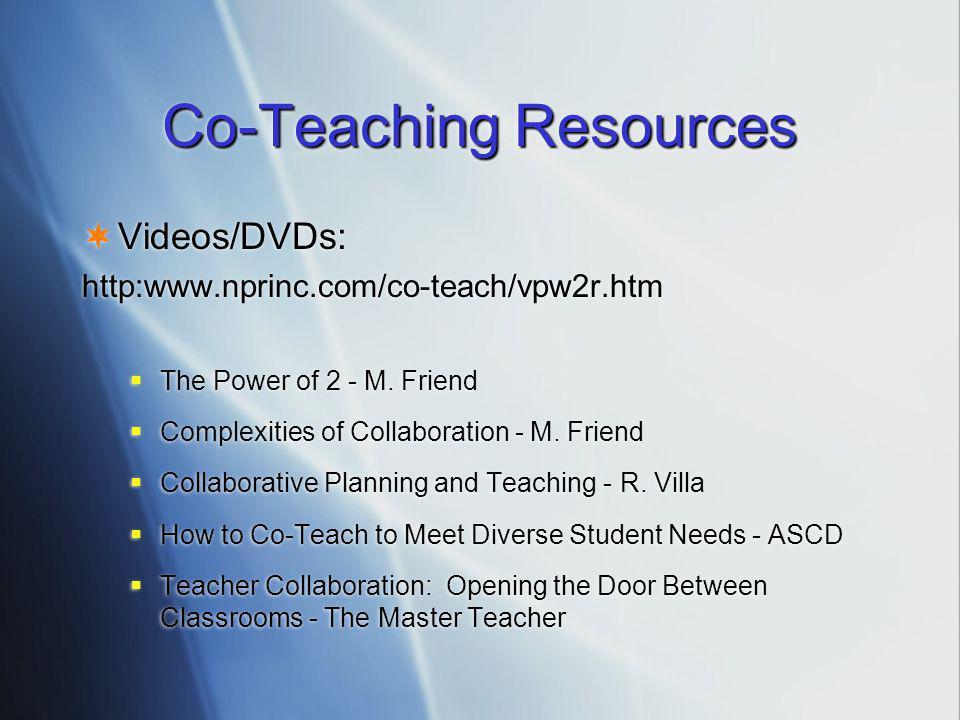 Co-Teaching Resources  Videos/DVDs: http:www.nprinc.com/co-teach/vpw2r.htm  The Power of 2 - M.
