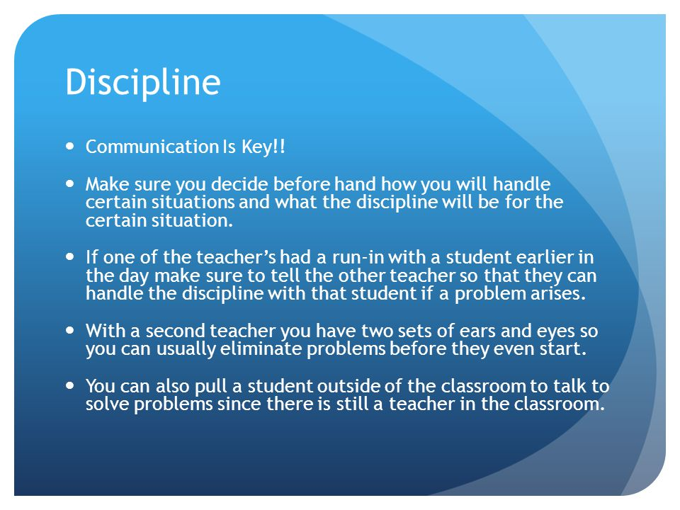 Discipline Communication Is Key!.
