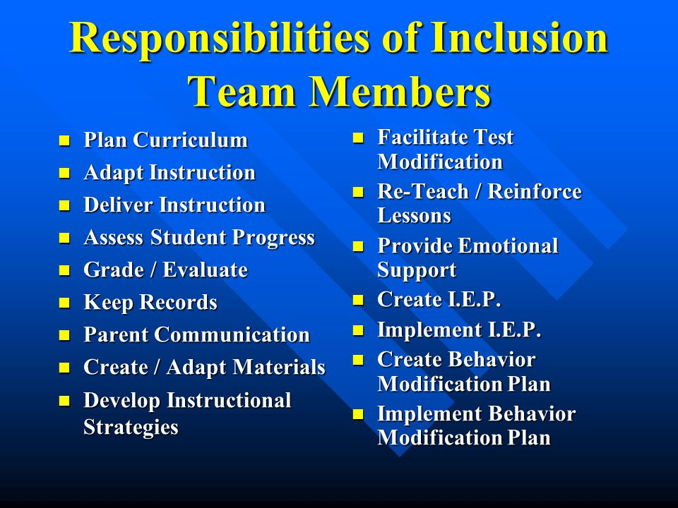 Responsibilities of Inclusion Team Members Plan Curriculum Plan Curriculum Adapt Instruction Adapt Instruction Deliver Instruction Deliver Instruction Assess Student Progress Assess Student Progress Grade / Evaluate Grade / Evaluate Keep Records Keep Records Parent Communication Parent Communication Create / Adapt Materials Create / Adapt Materials Develop Instructional Strategies Develop Instructional Strategies Facilitate Test Modification Re-Teach / Reinforce Lessons Provide Emotional Support Create I.E.P.