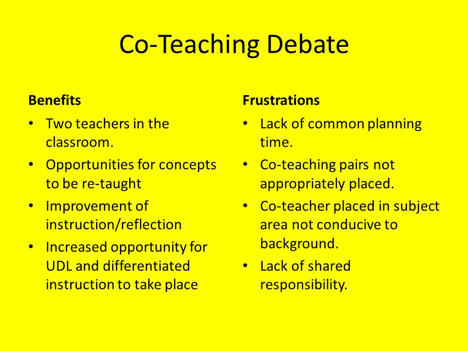 Co-Teaching Debate Benefits Two teachers in the classroom. Opportunities for concepts to be re-taught Improvement of instruction/reflection Increased