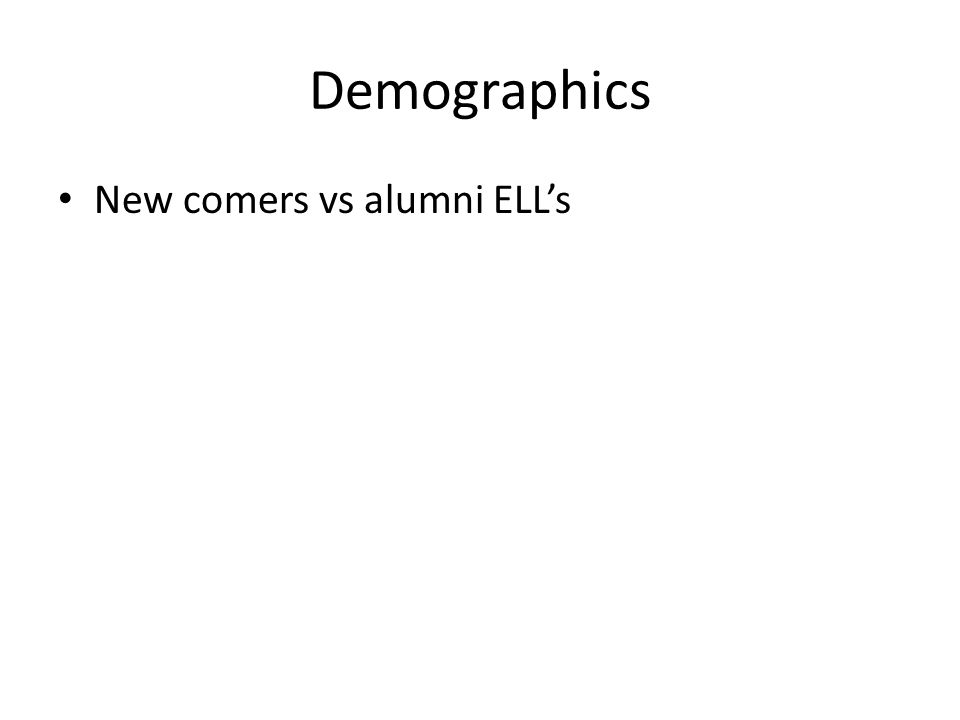 Demographics New comers vs alumni ELL's
