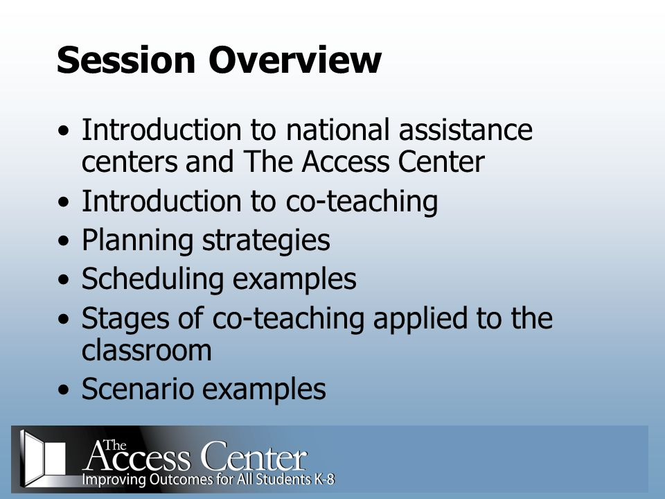 Three Stages of Co-Teaching as They Apply to: Physical Arrangement Familiarity With the Curriculum Curriculum Goals and Modifications Instructional Presentation Classroom Management Assessment Gately & Gately, 2001