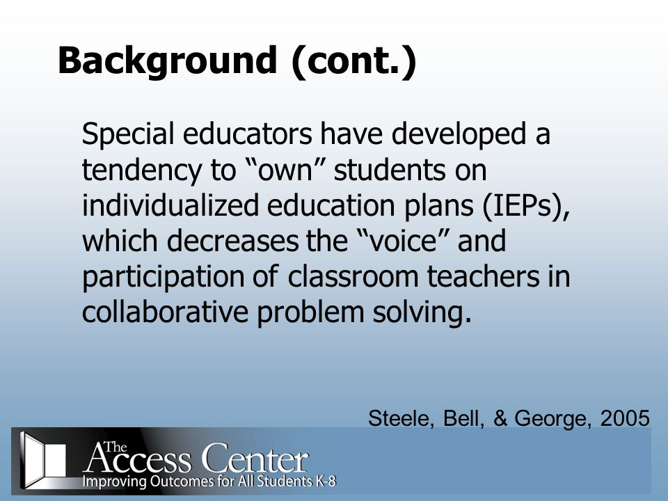 Challenges of Collaborative Scheduling A Requires effective consulting skills on the part of the special educator Larger danger that the special educator will not be seen as an equal partner to the general educator Could possibly disrupt the class routine Walsh & Jones, 2004